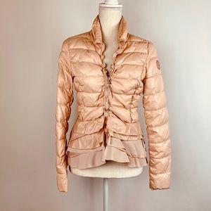Tahari Jacket XS Pink Puffer Ruffle Peplum Zip